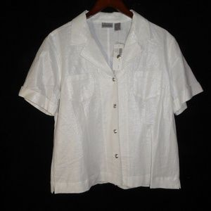 NEW w/ Tags Size 2 CHICOS Linen Foil Shirt Sparkle